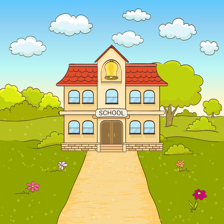 yards: cartoon drawing of elementary school building facade with road. vector