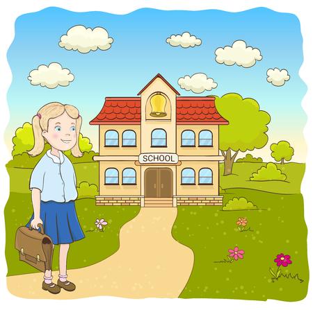 cartoon klein meisje in blauwe rok, met tas, op weg naar de lagere school gebouw. hand getekende vector illustratie Vector Illustratie