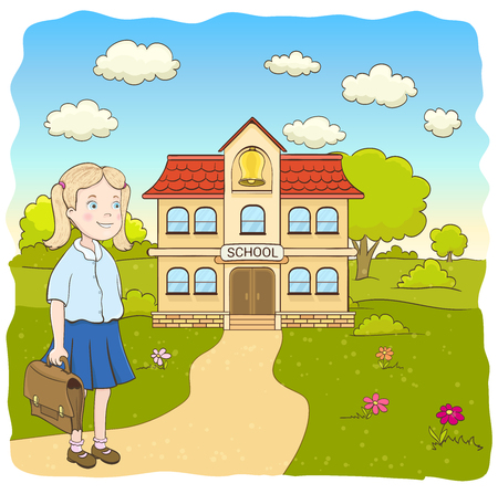 schoolkid: cartoon little girl in blue skirt, with bag, on the way to the primary school building. hand drawn vector illustration