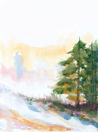 fir trees: winter background with fir trees and snow. hand painted watercolor illustration Stock Photo