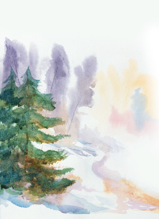 winter colors: hand painted watercolor background with winter colors and a fir trees