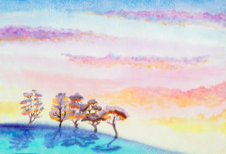 sky  dramatic: hand painted watercolor landscape with dramatic sky with clouds, hill and trees Stock Photo
