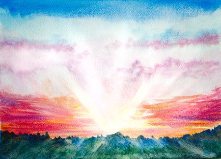 日の出や夕日の光線で自然の風景。手描きの水彩画の背景