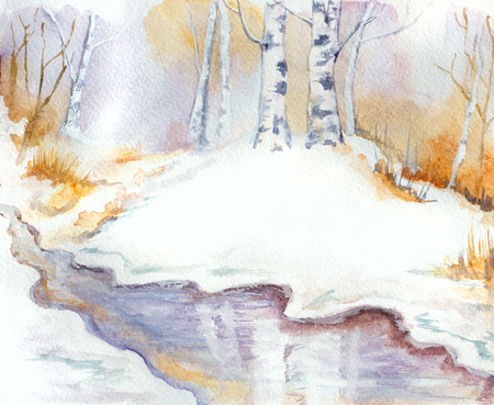 snow landscape: winter landscape with river, birch trees and snow. hand painted watercolor illustration