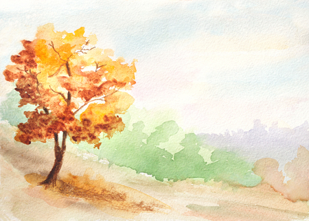 秋のツリー。田舎の風景水彩イラスト