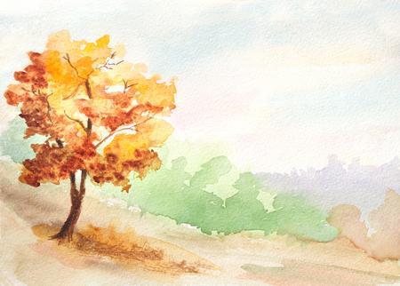 가을 나무. 시골 풍경 수채화 그림