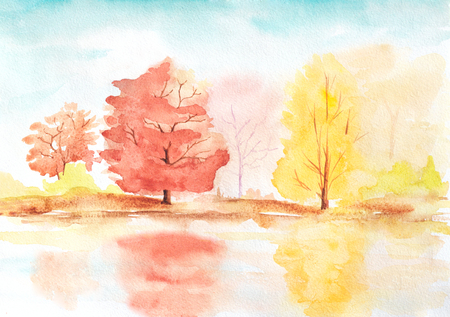 autumn trees with reflection in a lake. abstract sunny watercolor landscape illustration 版權商用圖片