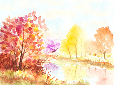 sunset lake: autumn trees and lake watercolor colorful illustration