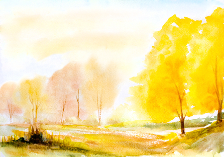 yellow landscape: autumn yellow trees natural landscape hand painted with watercolor
