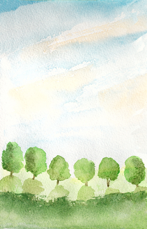 skies: abstract background with trees, grass and sky, watercolor illustration Stock Photo