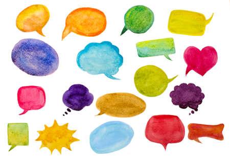 bubble speech: set of watercolor speech bubbles