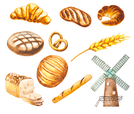 hand painted watercolor bread, mill, baguette, croissant Stock Photo