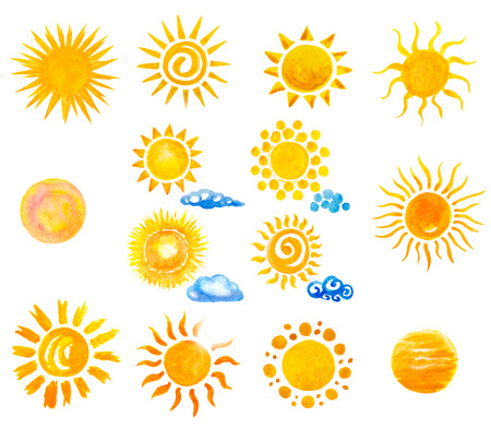 sole: Set di mano acquerello sole e nuvole dipinte Archivio Fotografico