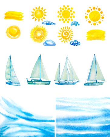 sunshine: set of watercolor sun,clouds,yachts,abstract water waves
