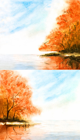 orange trees: watercolor nature background with orange trees and lake, sky, clouds