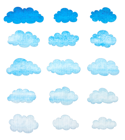 white clouds: set of watercolor clouds on white background Stock Photo
