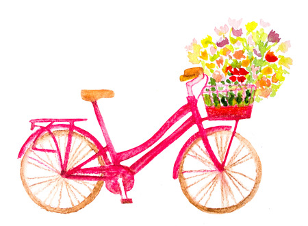eco flowers basket: watercolor hand painted bicycle with flowers on white