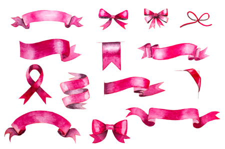 set of hand painted pink watercolor ribbons and bows