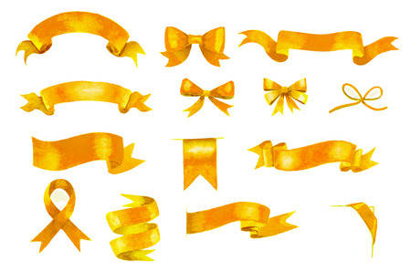 golden ribbons: set of hand painted golden watercolor ribbons and bows Stock Photo