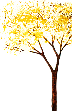 wet flies: watercolor background with hand painted yellow autumn tree