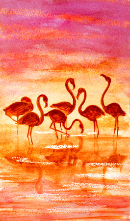 sunset lake: watercolor hand painted flamingo on lake and sunset Stock Photo