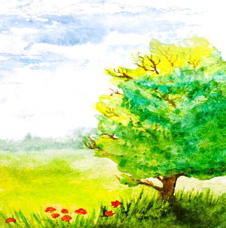 pastoral: watercolor hand painted landscape with tree and flowers
