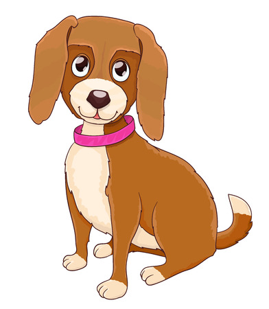 Cute cartoon doggy with collar on white. vector Illustration