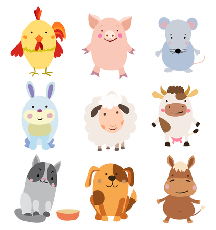 snoot: Vector Set of Cute Farm Animals and Pets Isolated on White.
