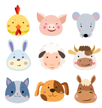 snoot: Vector Set of Cute Farm Animals and Pets Faces Isolated on White.