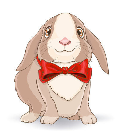 Little cute rabbit with red bow. vector