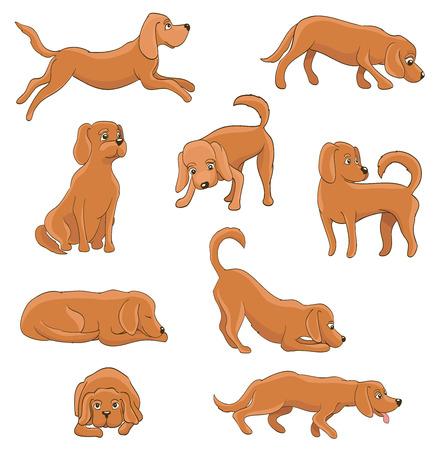 様々 なポーズのかわいい漫画の犬。面白いペットに座って、立って、実行して、待って、横になっている、演奏、眠い、疲れた。ベクトル図  イラスト・ベクター素材