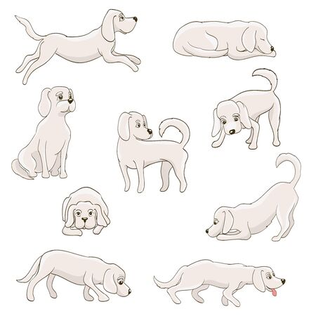 running nose: cute cartoon dog in various poses. vector illustration