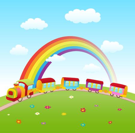 cartoon cute train on a hill with rainbow. vector illustraton