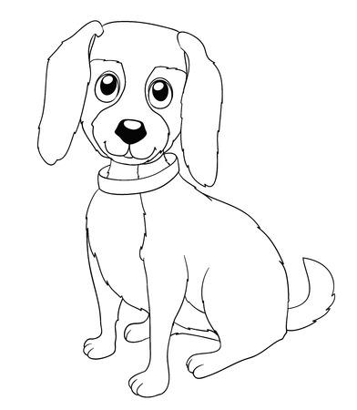 Schwarz Und Weiß Karikatur Illustration Der Stier-Hund In Halsband ...