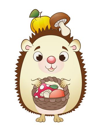 Картинка ежика с корзинкой для детей
