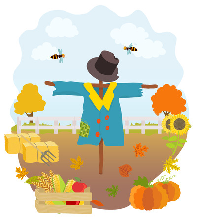 cartoon scarecrow, pumpkins, sunflowers, drawer with cucumber, wheat, apples, hay bales, pitchfork, falling autumn leaves, fence and trees