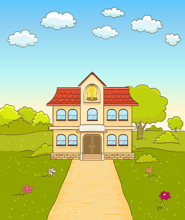 front or back yard: Cartoon elementary school building facade with road. vector background Illustration