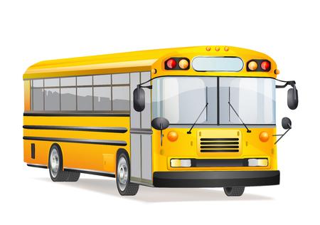 autobus scolaire sur blanc Vecteurs
