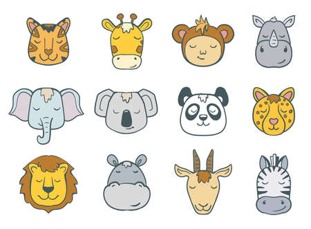 set of cartoon jungle animal faces on white. vector