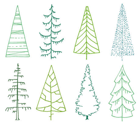 set of stylized fir trees on white. line art spruce trees with minimal design Vektorgrafik