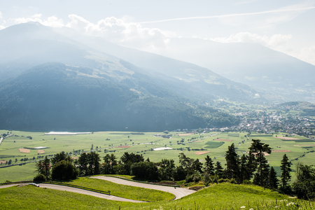 Landscape of Mountains and grass of South Tyrol In Italy