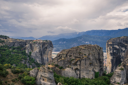 Landscape of the monasteries of Meteora in Greece in Thessaly at the early morning. Cliffs of Meteora Stock Photo