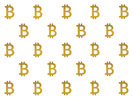 Texture of sign crypto currency of bitcoin on white background. Symbol BTC. Bitcoin bifurcation