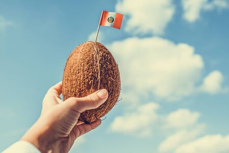 Tropical coconut with the Peru flag in the form of a toothpick in female hands. Travel concept.