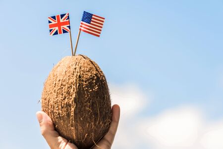 Tropical coconut with the American and Great Britain flags in the form of a toothpick in female hands. Travel concept. Honeymoon of America and Great Britain tourists