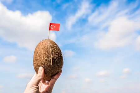 Tropical coconut with Turkish flag in the form of a toothpick in female hands. Tourism in Turkey. concept