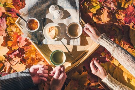 Couple of man and woman having morning breakfast in the autumn garden with colorful maple leaves. cup of coffee, marshmallow jam and a cheese pancake on a wooden tray.  Aerial view Stock Photo