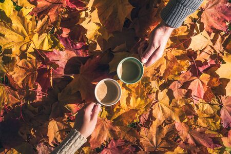 Cuple of man and woman with two cup of coffee on the ground with maple leaves in the autumn forest. Aerial view
