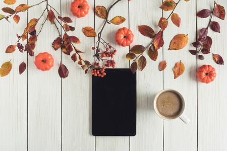 tablet and cup of coffee with leaves, small pumpkins and rowan on white retro wood boards. background. Autumn, fall concept. Flat lay, top view.