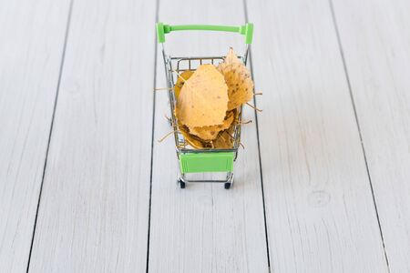 Green small toy shopping cart with yellow birch leaves on a retro wood boards. Autumn Concept.
